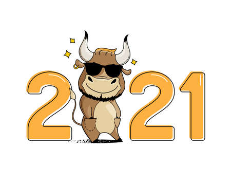 Cool cartoon bull in sunglasses, hands in pockets. Symbol of 2021. Year of the ox. Vector illustration