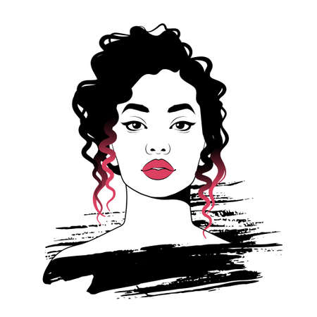 Young pretty woman portrait sketch. Fashion illustration, vector. Illusztráció