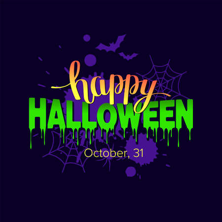 Happy halloween text banner with spiderweb and bats. Vector illustration Illusztráció