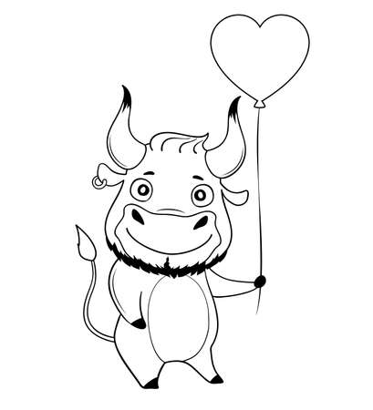 Cool bull with heart-shaped balloon. Symbol of 2021. Vector illustration Illusztráció