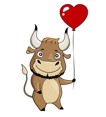 Cool bull with red heart-shaped balloon. Cartoon symbol of 2021. Vector illustration Illusztráció