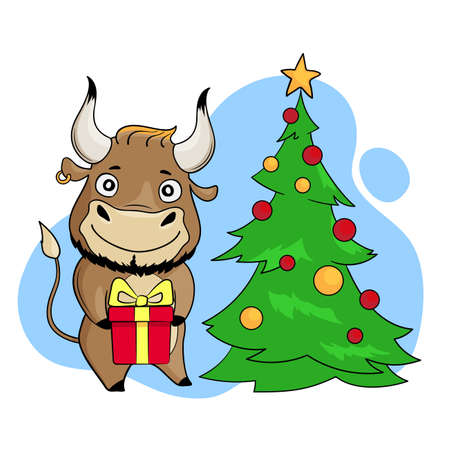Cool bull with present in hands near Christmas tree. Cartoon symbol of 2021. Vector illustration Illusztráció