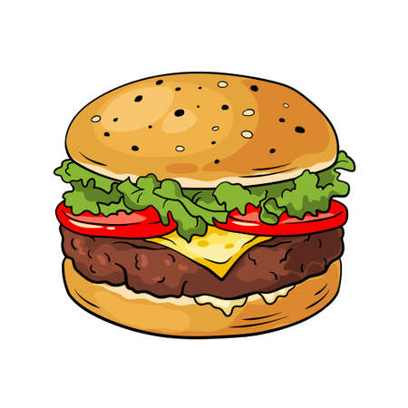 Hamburger. Hand drawn vector illustration, cartoon style