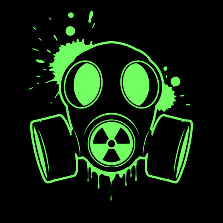 Gas mask with radiation sign. Respirator, vector icon