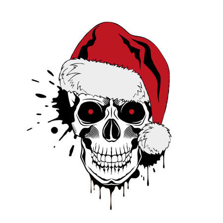 Vector skull with Santa hat, red eyes, and ink drops