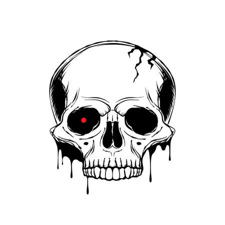 Hand drawn human skull with with glowing red eye