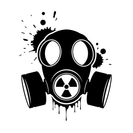 Gas mask with radiation sign. Respirator, vector icon isolated on white