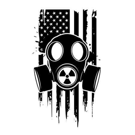 Gas mask with radiation sign and US patriotic flag. Respirator, vector icon isolated on white