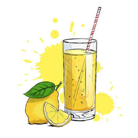 Fresh lemonade with a lemon wedge and a straw
