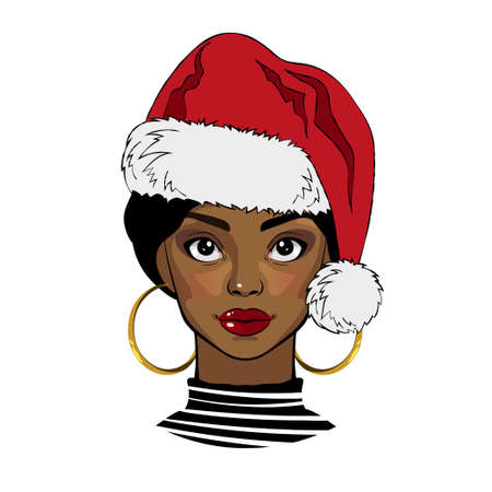 Black girl with Christmas Santa hat. Vector illustration