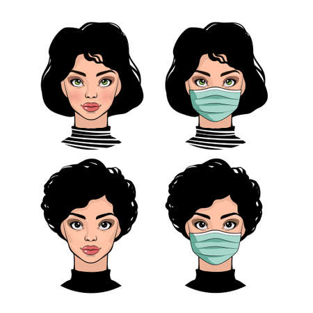 Girls in protective medical masks Illusztráció