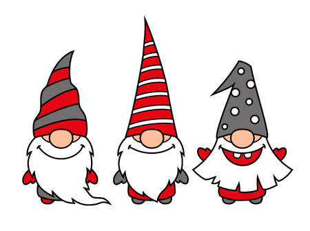 Cute Christmas gnomes, vector illustration