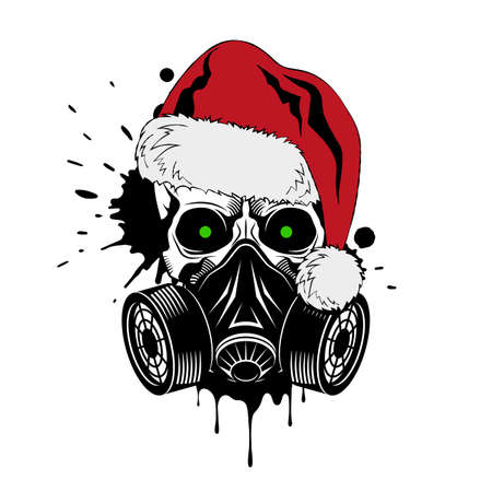Vector skull with gas mask and Santa hat. Paint splashes and drips on white background. Grunge vector illustration