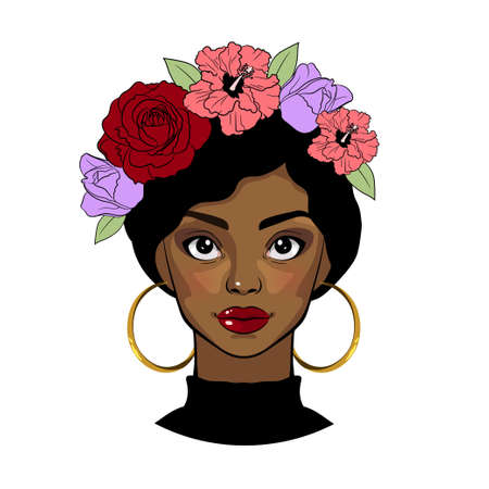 Black girl with floral wreath. Beautiful young woman. Vector cartoon portrait Illusztráció