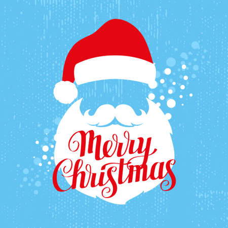 Merry Christmas greeting card template with Santa and calligraphy, vector illustration Illusztráció