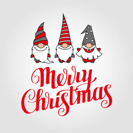 Merry Christmas greeting card with calligraphy and gnomes