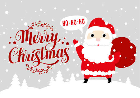 Greeting card with cute cartoon Santa Claus and Merry Christmas calligraphy Illusztráció