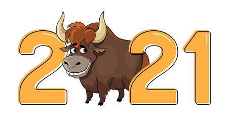 Cartoon bull, symbol of 2021. Year of the ox. Cute cartoon animal. Vector illustration