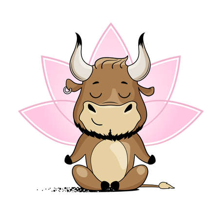 Cool bull doing yoga, sitting in lotus pose. Symbol of 2021, year of the ox. Cartoon vector illustration