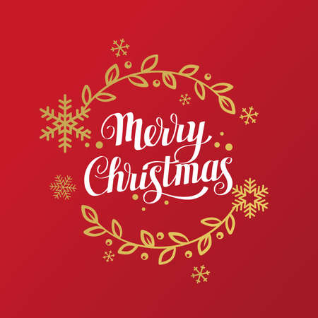 Merry christmas lettering with snowflakes and floral elements. Vector illustration Illusztráció