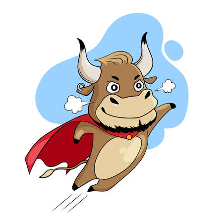 Cool bull flying in a red superhero cape. Symbol of 2021, year of the ox. Cartoon vector illustration