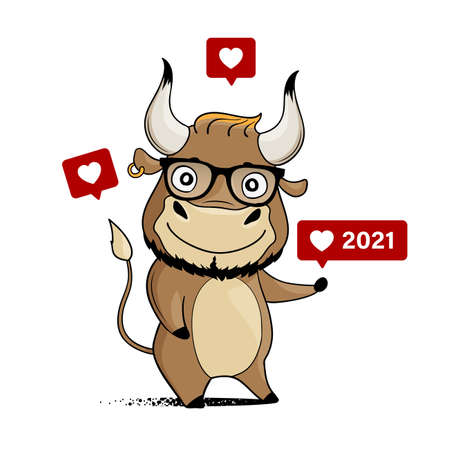 Cool cartoon bull with hipster glasses and like icons. Illusztráció