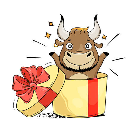 Surprise gift box with cool bull. Symbol of 2021. The year of the ox. Vector illustration