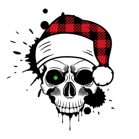 Vector skull with Santa hat. Christmas 2020. Paint splashes and drips. Grunge vector illustration Illusztráció