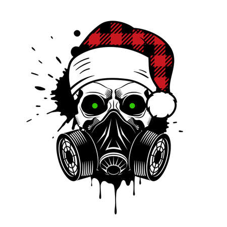 Vector skull with buffalo plaid Santa hat and gas mask. Christmas 2020. Paint splashes and drips Illusztráció
