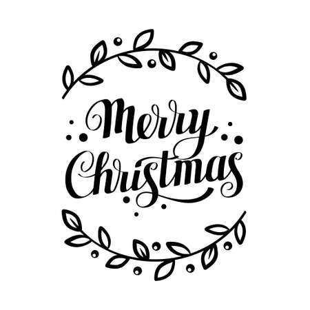 Merry christmas lettering with floral elements. Vector illustration on white background