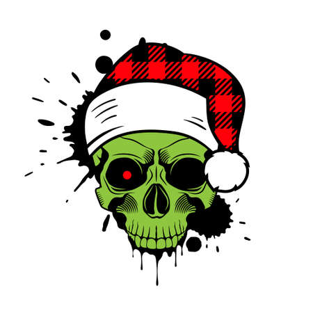 Green skull with Santa hat. Christmas 2020. Paint splashes and drips. Grunge vector illustration