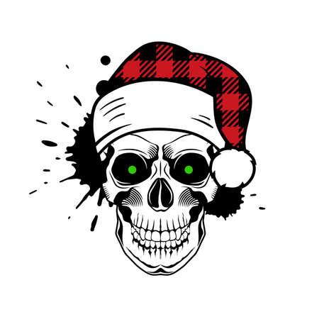 Vector skull with Santa hat. Christmas 2020. Paint splashes and drips on white background. Grunge vector illustration Иллюстрация