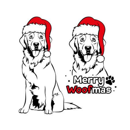 Golden retriver with Santa hat. Christmas Labrador dog portrait. Merry woofmas text. Vector illustration
