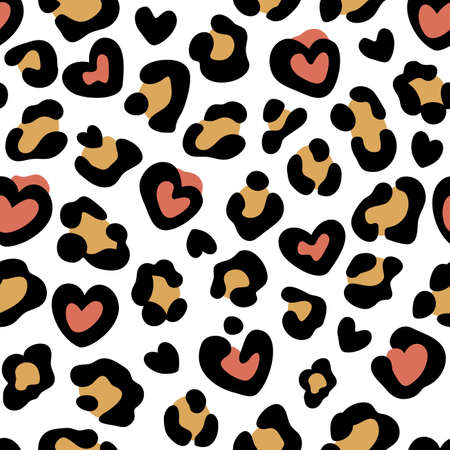 Leopard print with hearts. Seamless leopard pattern. Leopard spots. Abstract animal print. Vector