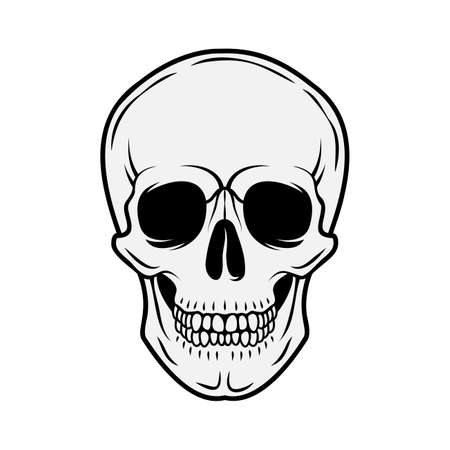 Human skull. Front view. Vector black and white hand drawn illustration isolated on white background Ilustracje wektorowe