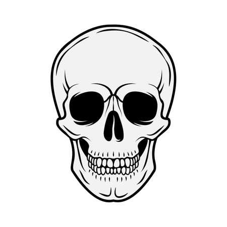 Human skull. Front view. Vector black and white hand drawn illustration isolated on white background Ilustração Vetorial