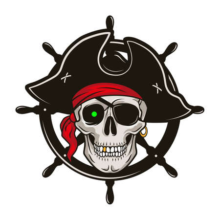 Pirate emblem with steering wheel and skull in a hat and eye patch. Vector hand drawn cartoon illustration isolated on white background Ilustración de vector