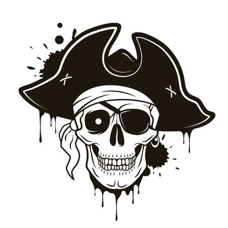 Pirate skull with eye patch, hat, bandana, glowing eye. Vector hand drawn cartoon illustration isolated on white background