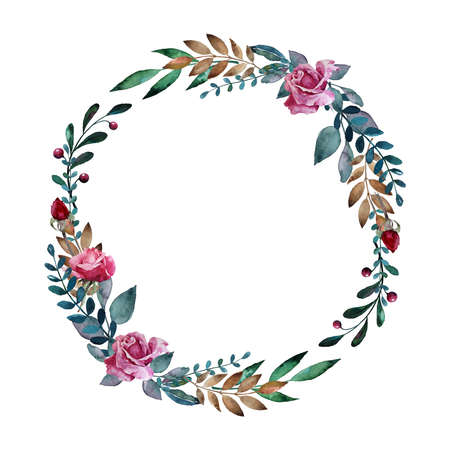 Watercolor floral wreath with pink roses, leaves and berries. Hand drawn round floral frame