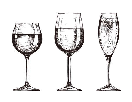 Set of wineglasses. Red wine, white wine and champagne. Vector illustration in hand drawn retro style