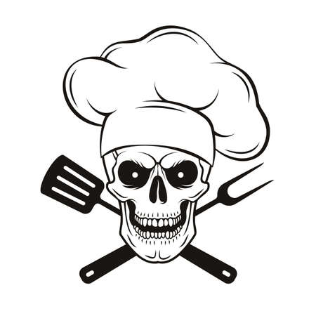 Grinning skull in chef hat with crossed barbecue tools. Cartoon chef skull in hand drawn style. Grill master, vector illustration