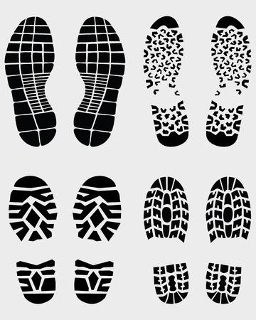 authenticate: Various black prints of shoes, vector