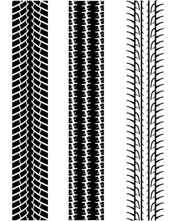 treads: Vector illustration of various tyre treads Illustration