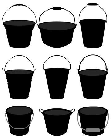 Black silhouettes of garden buckets, vector Illustration