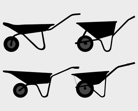 Black silhouettes of various wheelbarrow, vector