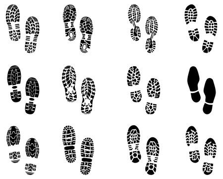 zapato: Varias impresiones negras de los zapatos, vector