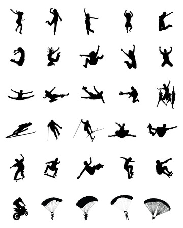 Silhouettes of people wich jumping and flying, vector Vector