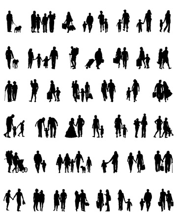 Silhouettes of people  which walk, vector