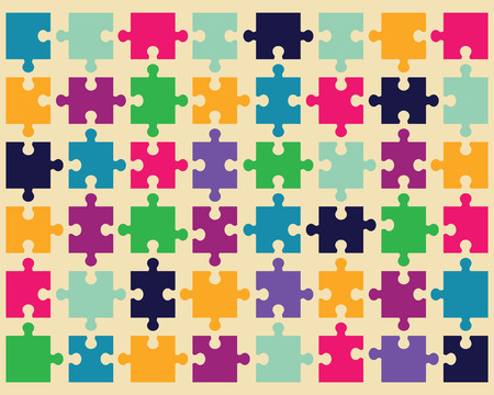 jigsaw pieces: Illustration of colorful shiny puzzle, vector