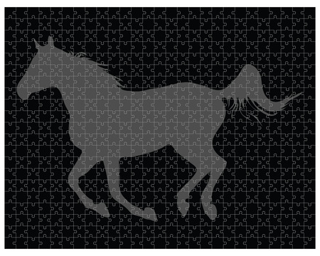 color separation: Silhouette of a horse on the puzzle, vector illustration